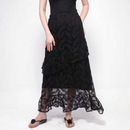 NE Double S Comfy Elastic Waist Long Lace Skirt