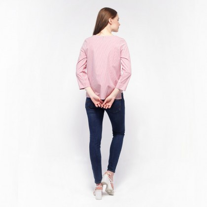 nicole-Round Neckline with Embroidery Detail Long Sleeve Striped Blouse